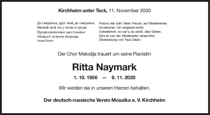 Nachruf Ritta Naymark <br><p style=