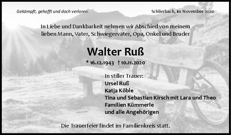 Trauer Walter Ruß <br><p style=