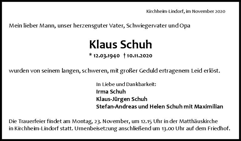 Trauer Klaus Schuh <br><p style=