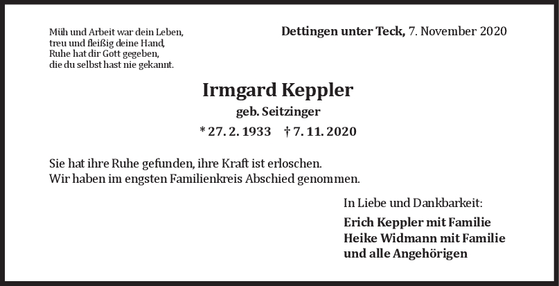 Trauer Irmgard Keppler <br><p style=