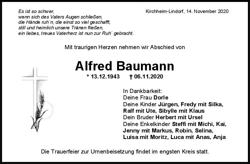 Trauer Alfred Baumann <br><p style=