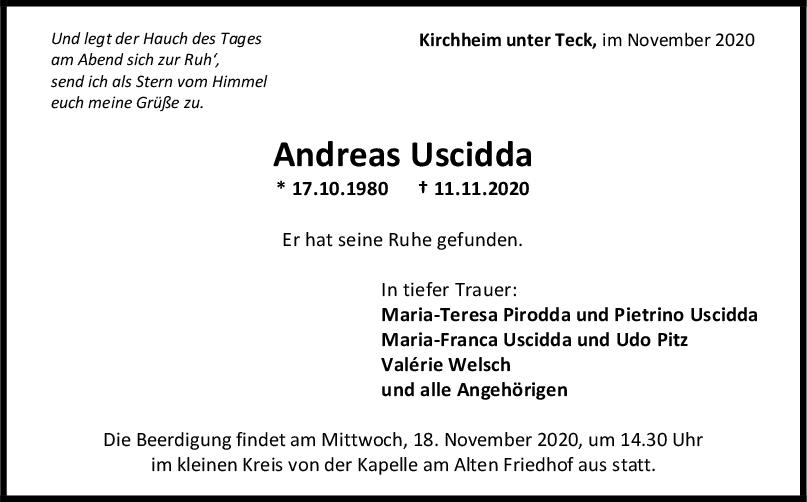 Trauer Andreas Uscidda <br><p style=
