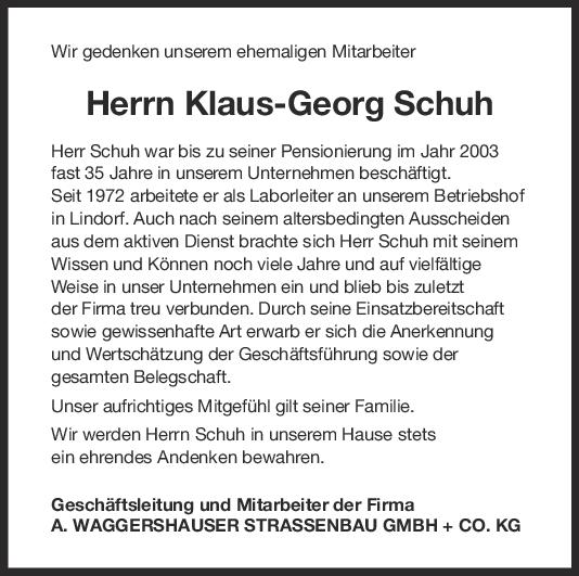 Nachruf Klaus-Georg Schuh <br><p style=