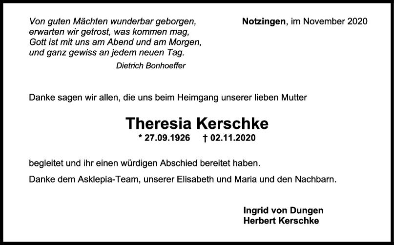 Danksagung Theresia Kerschke <br><p style=