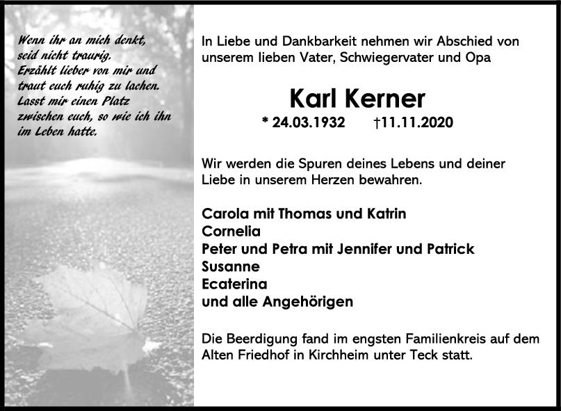 Trauer Karl Kerner <br><p style=