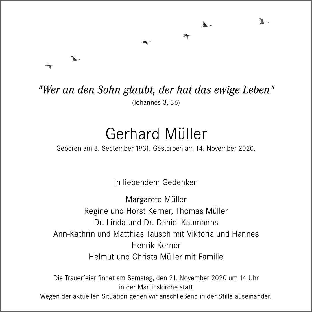 Trauer Gerhard Müller <br><p style=