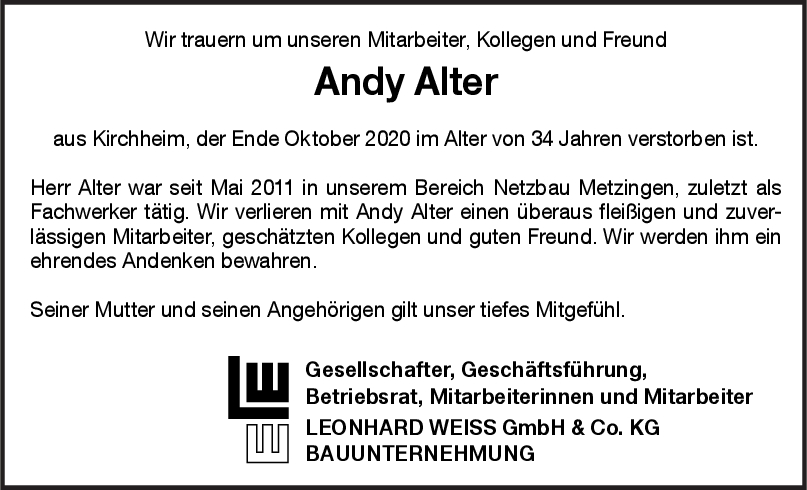 Nachruf Andy Alter <br><p style=