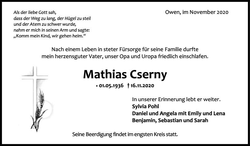 Trauer Mathias Cserny <br><p style=