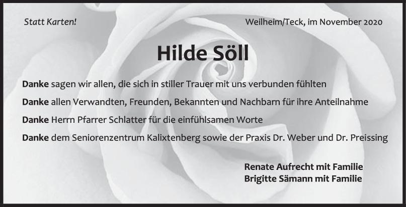 Danksagung Hilde Söll <br><p style=