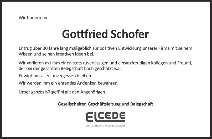 Nachruf Gottfried Schofer <br><p style=