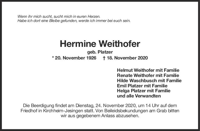 Trauer Hermine Weithofer <br><p style=