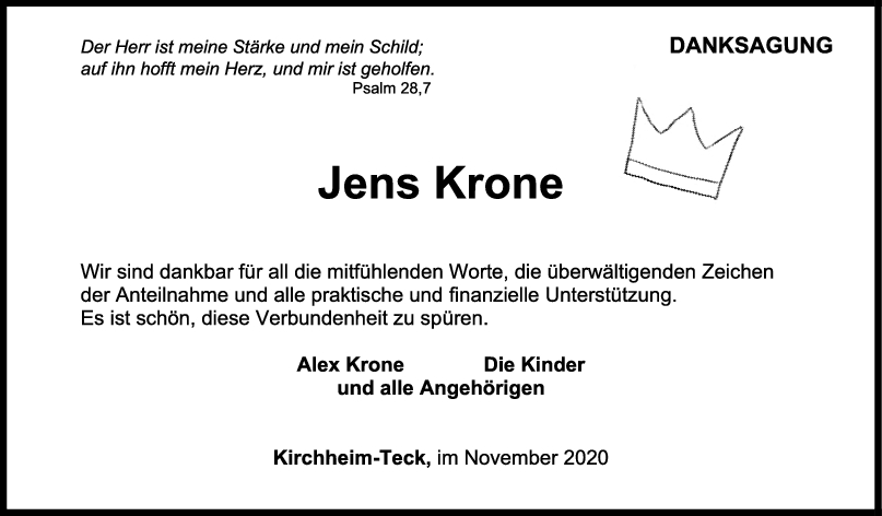 Danksagung Jens Krone <br><p style=