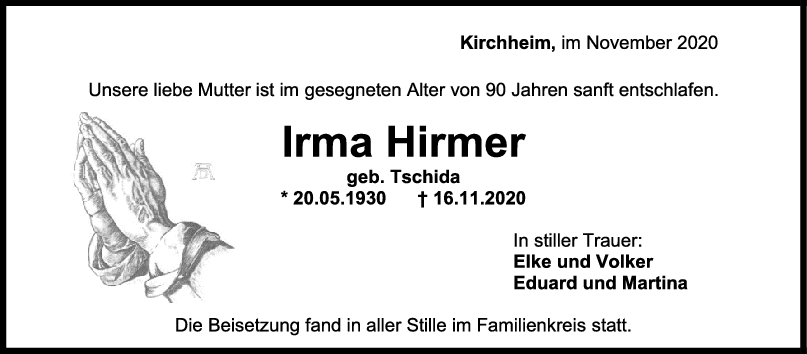 Trauer Irma Hirmer <br><p style=