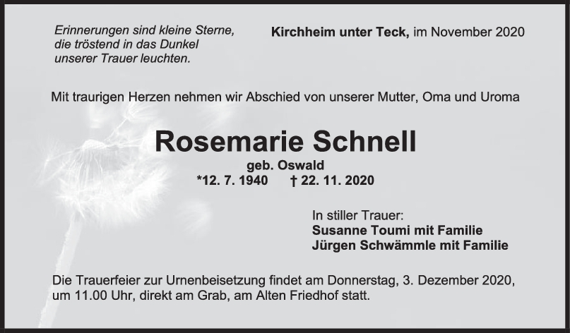 Trauer Rosemarie Schnell <br><p style=