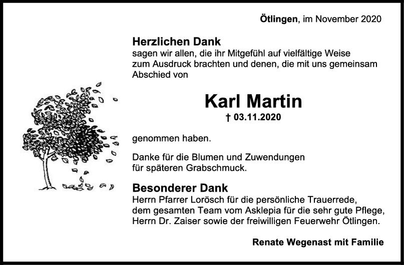 Danksagung Karl Martin <br><p style=