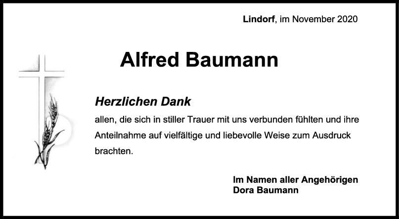 Danksagung Alfred Baumann <br><p style=
