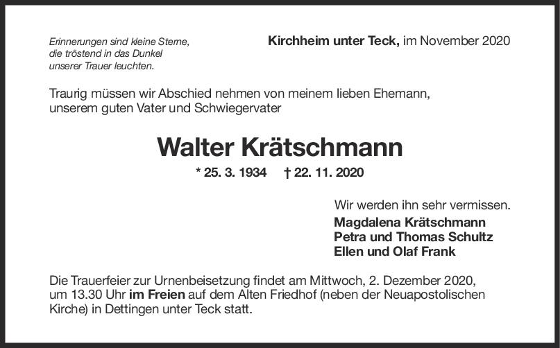 Trauer Walter Krätschmann <br><p style=
