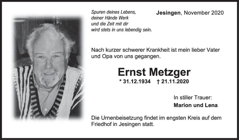 Trauer Ernst Metzger <br><p style=