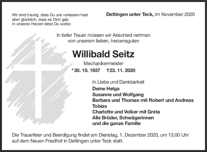 Trauer Willibald Seitz <br><p style=