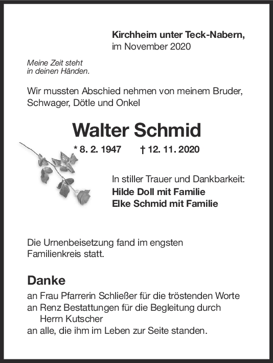 Trauer Walter Schmid <br><p style=