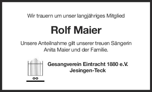 Nachruf Rolf Maier <br><p style=