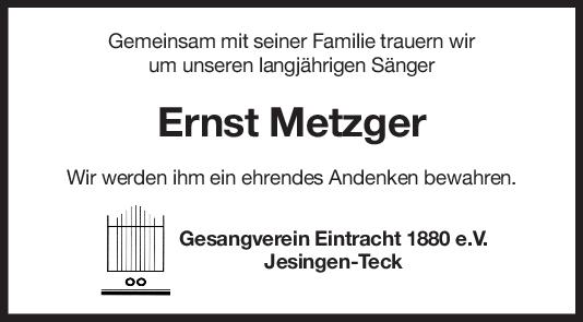 Nachruf Enrst Metzger <br><p style=
