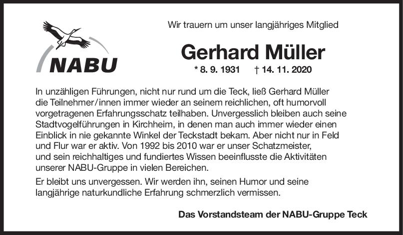 Nachruf Gerhard Müller <br><p style=