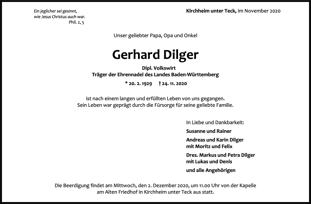Trauer Gerhard Dilger <br><p style=