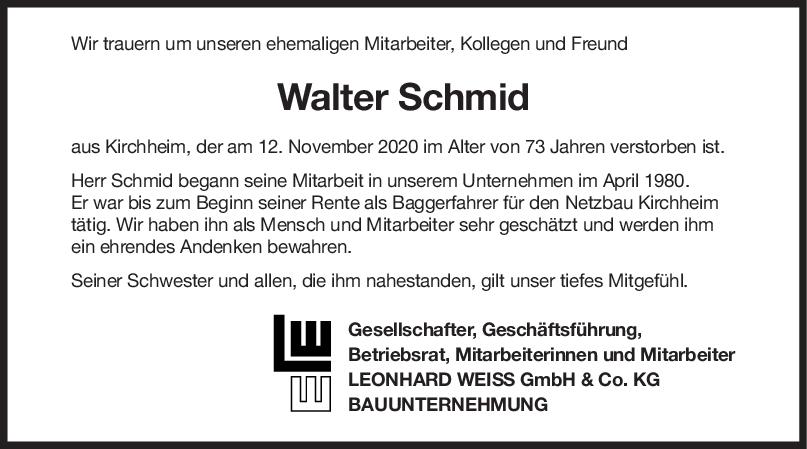 Nachruf Walter Schmid <br><p style=