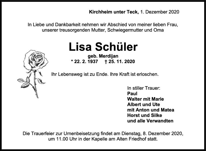 Trauer Lisa Schüler <br><p style=