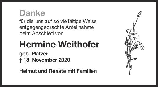 Danksagung Hermine Weithofer <br><p style=