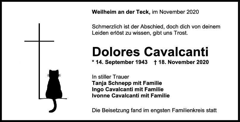 Trauer Dolores Calvancanti <br><p style=