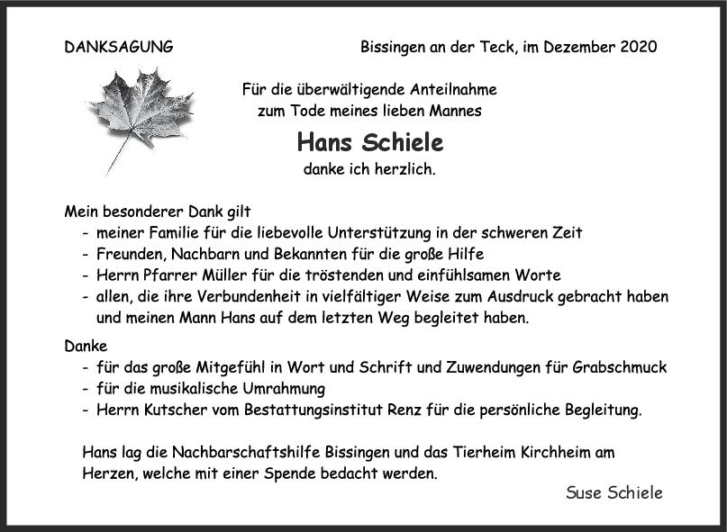 Danksagung Hans Schiele <br><p style=
