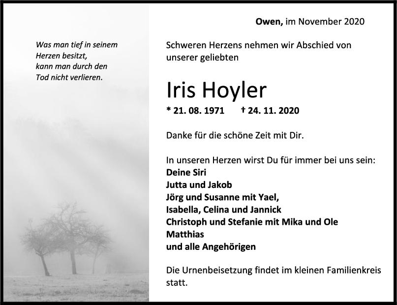Trauer Iris Hoyler <br><p style=