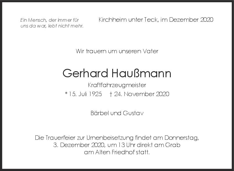 Trauer Gerhard Haußmann <br><p style=