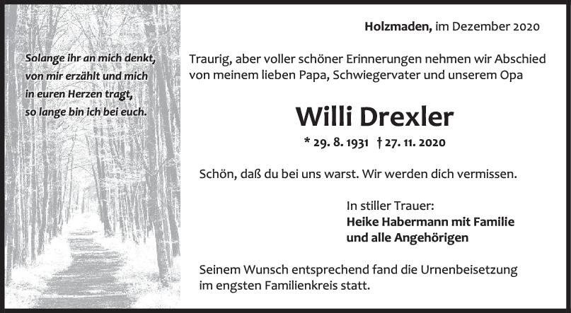 Trauer Willi Drexler <br><p style=