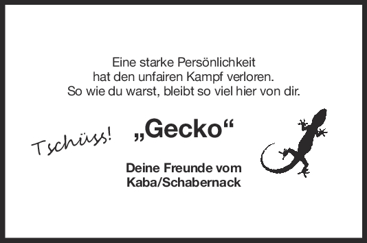 Nachruf Dietmar Hofmann (Gecko) <br><p style=
