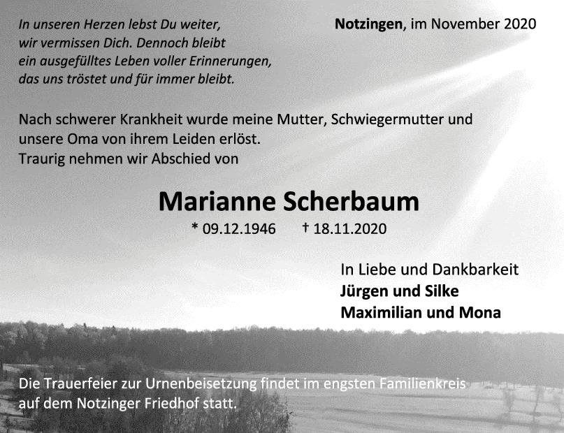 Trauer Marianne Scherbaum <br><p style=