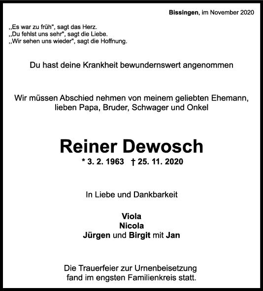 Trauer Reiner Dewosch <br><p style=