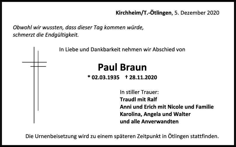 Todesanzeige Paul Braun <br><p style=