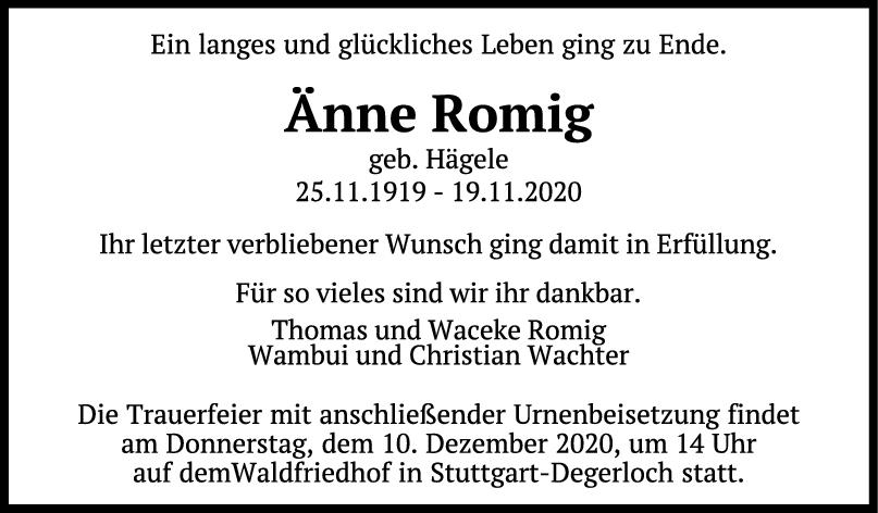 Trauer Änne Romig <br><p style=