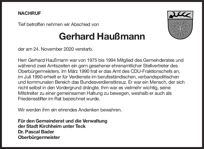 Nachruf Gerhard Haußmann <br><p style=