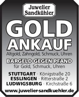 Juwelier Sandkühler OHG; GOLDANKAUF <br><p style=