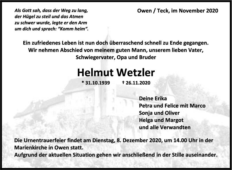 Trauer Helmut Wetzler <br><p style=
