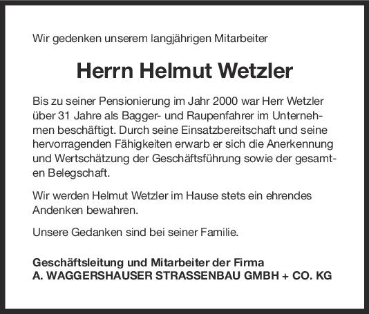 Nachruf Helmut Wetzler <br><p style=
