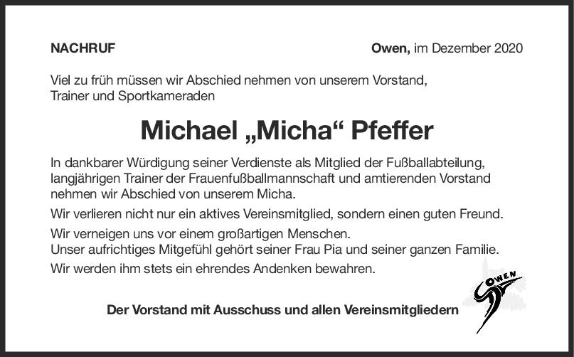 Nachruf Michael Pfeffer <br><p style=