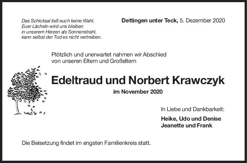 Trauer Edeltraud und Norbert Krawczyk <br><p style=