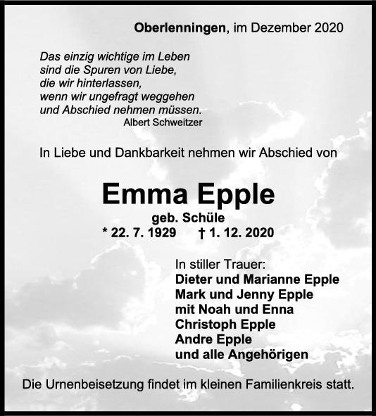 Trauer Emma Epple <br><p style=
