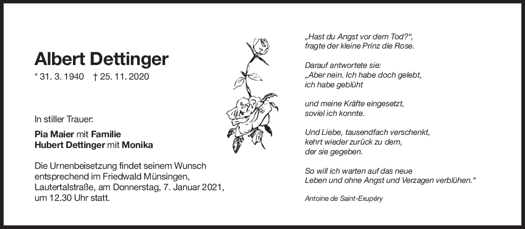 Trauer Albert Dettinger <br><p style=