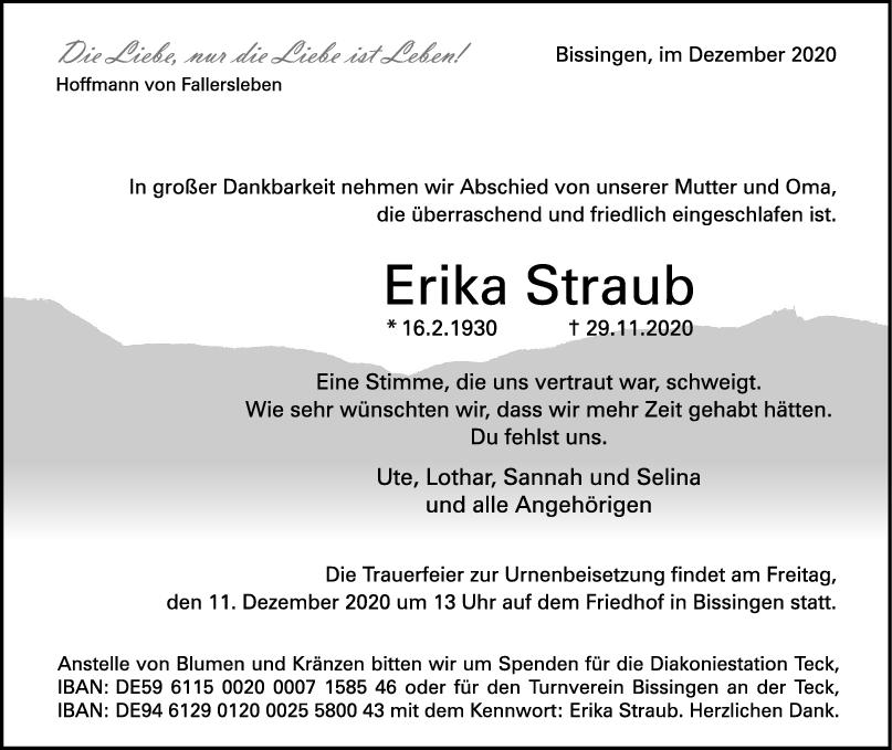 Trauer Erika Straub <br><p style=